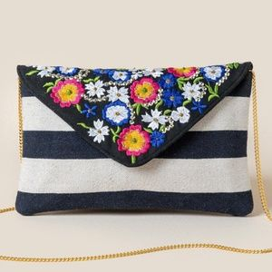 Francesca's Kingsley Floral Embroidered Clutch NWT